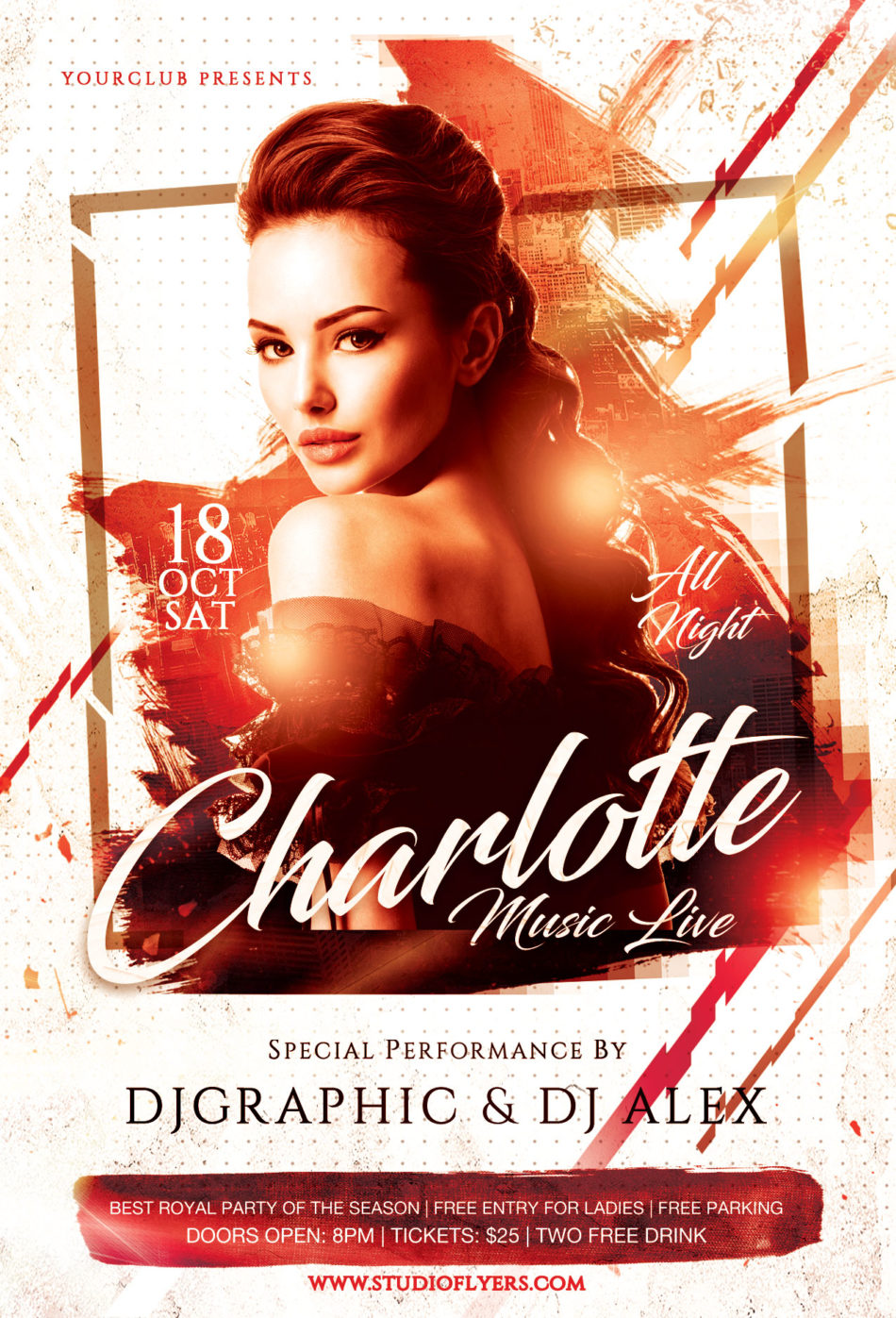 Ladies Night Music Live Free PSD Flyer Template