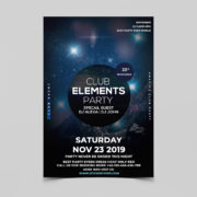 Club Night Element Party Free PSD Flyer Template