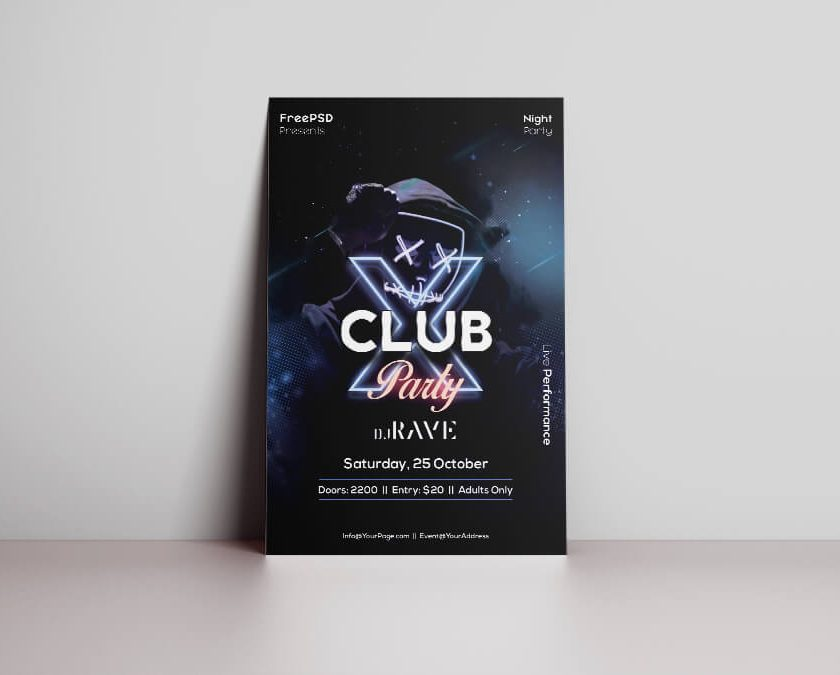 Club X Night Party Free PSD Flyer Template