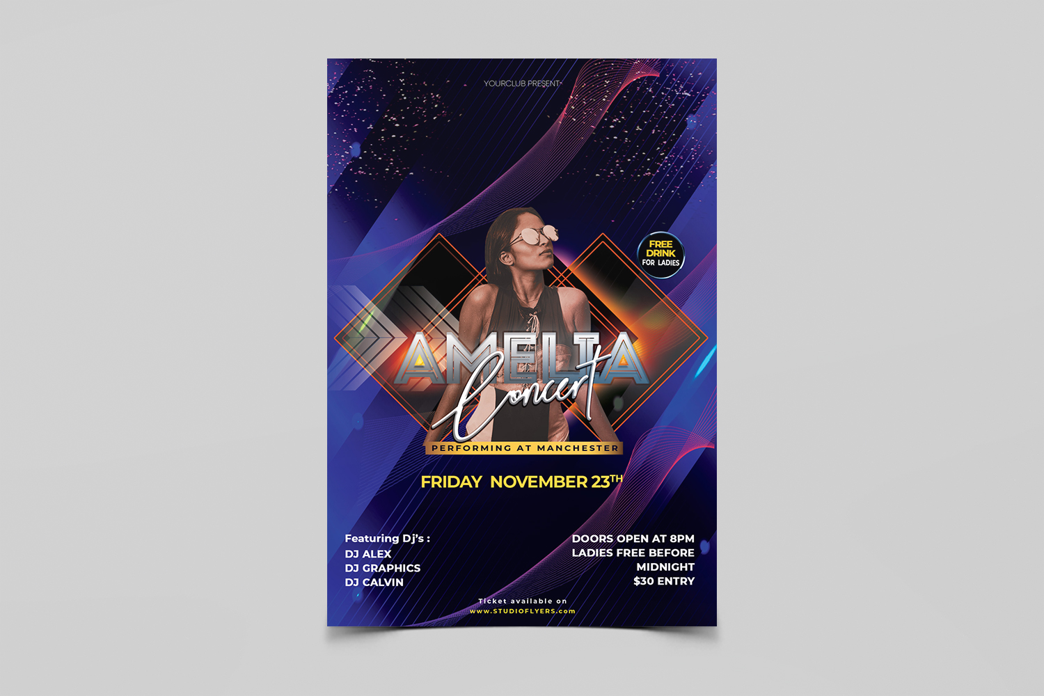 Amelia Concert Party Free PSD Flyer Template
