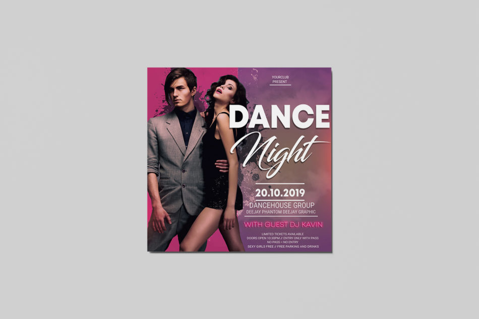 Dance Night Free PSD Flyer Template