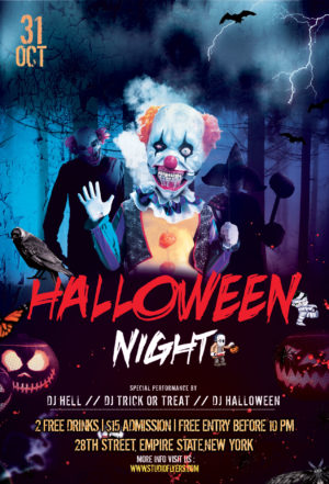 Clown Halloween Nightmare Free PSD Flyer Template