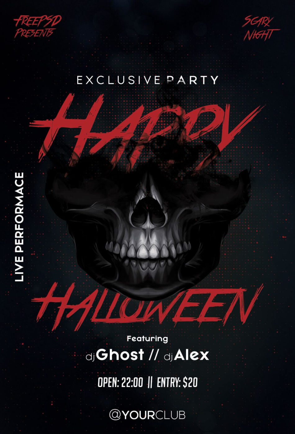 Happy Halloween Party Psd Free Flyer Template