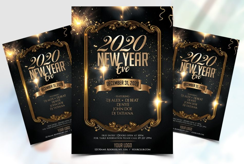 Free New Year Eve Night 2020 PSD Flyer Template
