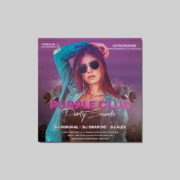 Purple Party Insta Square Free PSD Flyer Template