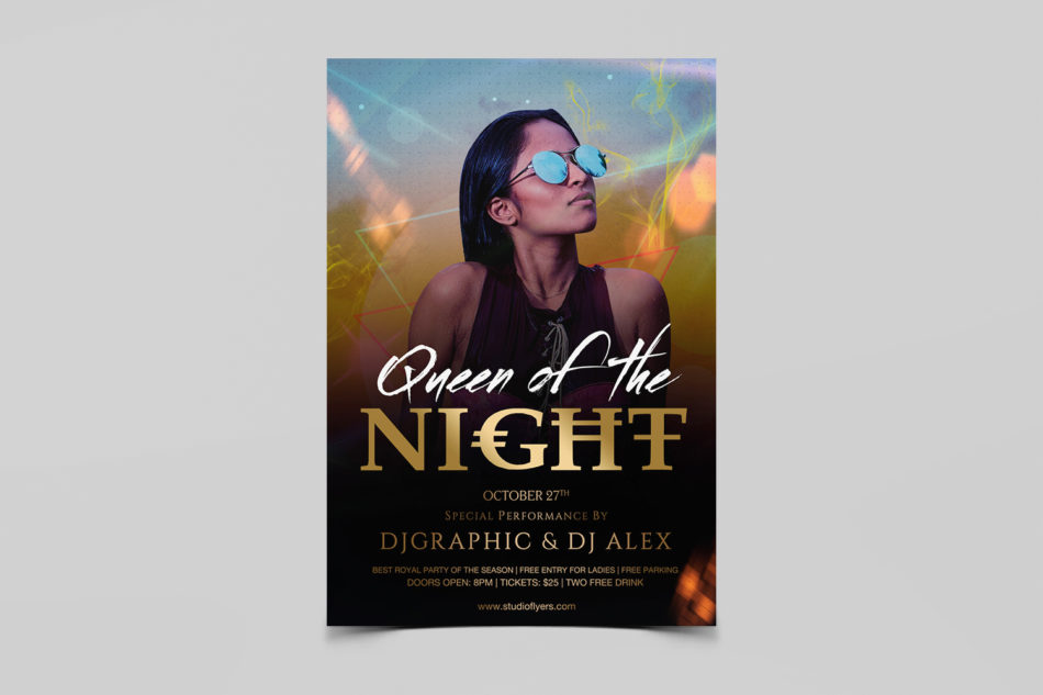 Queen Ladies Of The Night Free PSD Flyer Template