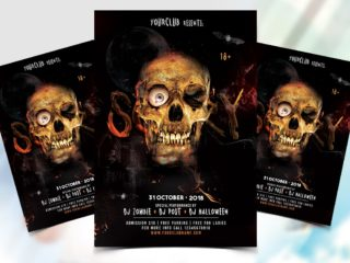 Skull Scary Halloween Flyer Free PSD Template