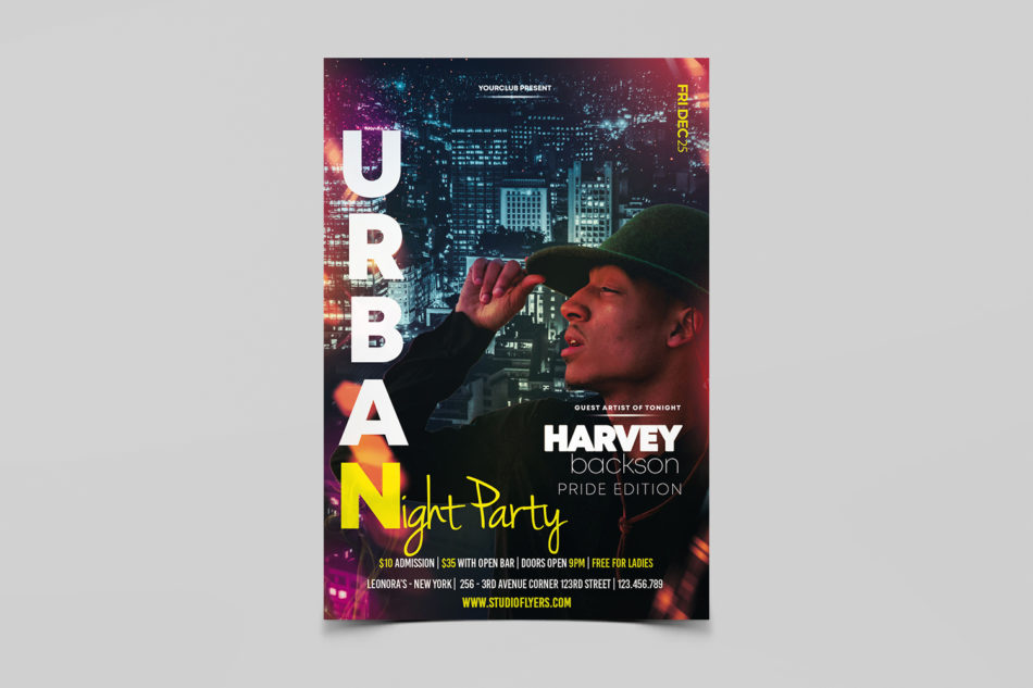 Urban Club Night Party Free PSD Flyer Template