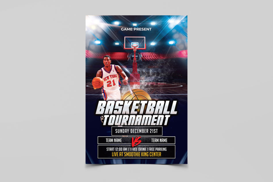 Basketball Game Free PSD Flyer Template