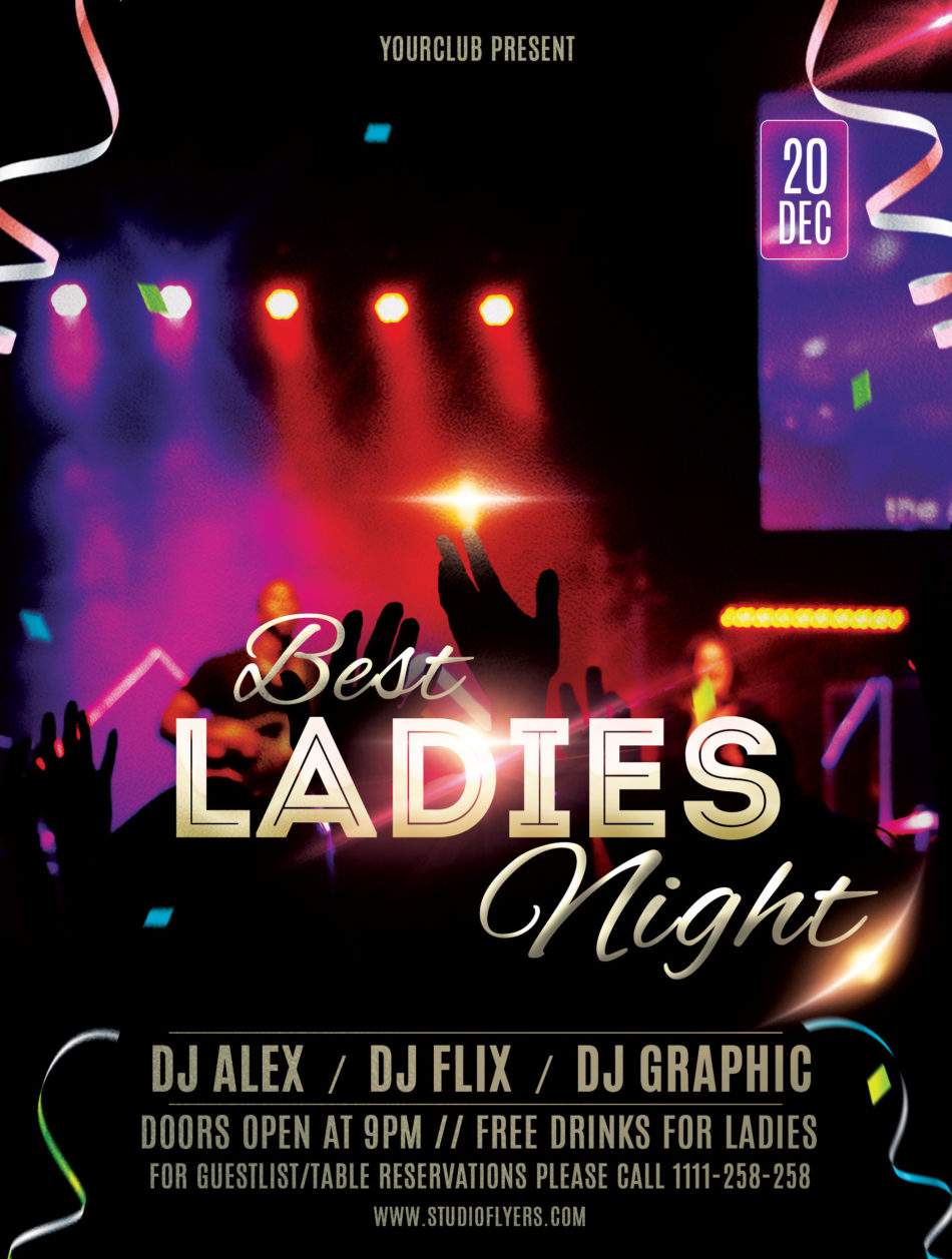 Best Night Out Ladies Free PSD Flyer Template