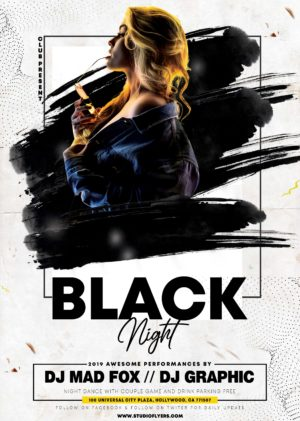 Black Night Party Free PSD Flyer Template