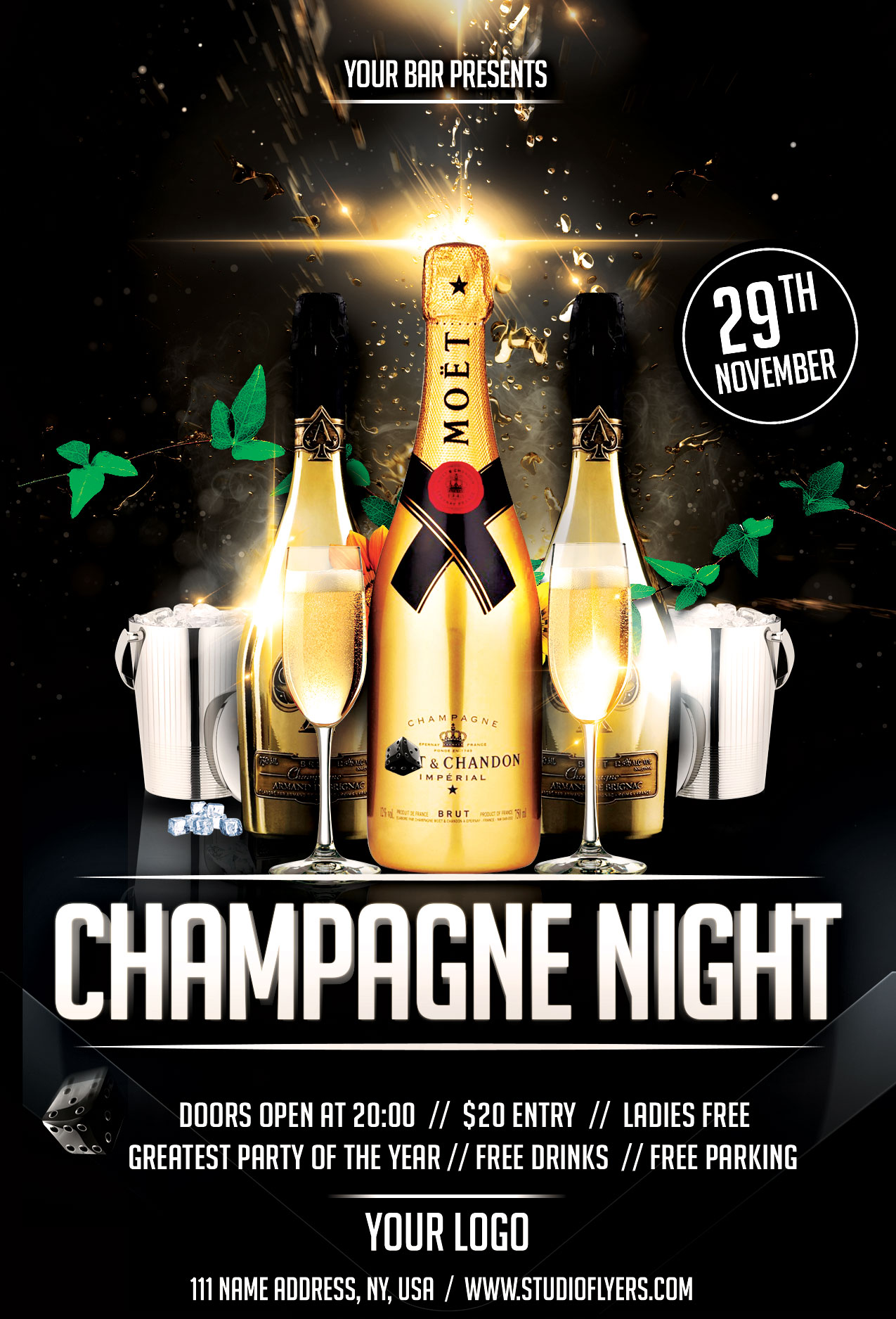 Champagne Drinks Night Free PSD Flyer Template