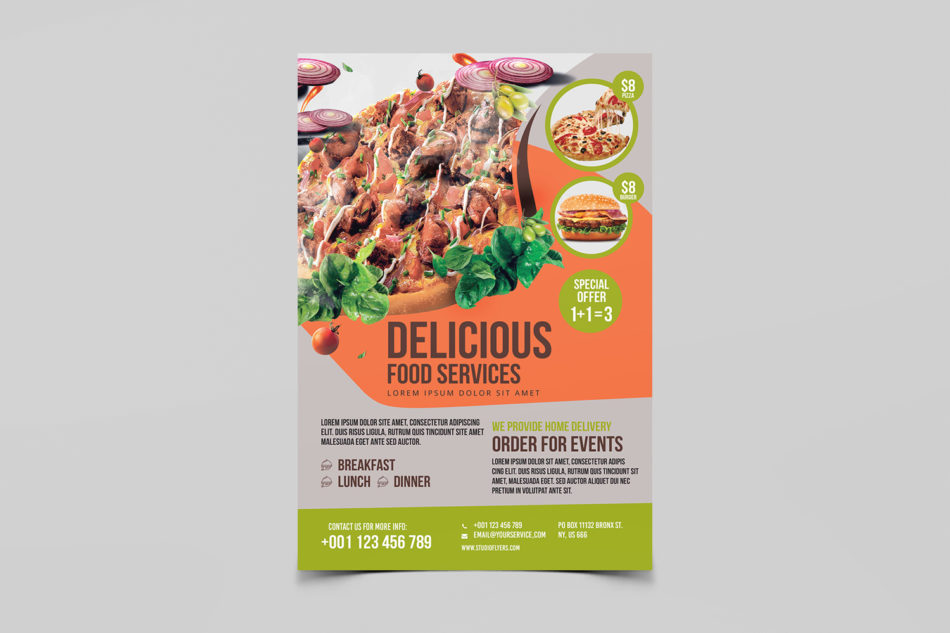 Food Service Free PSD Flyer Template