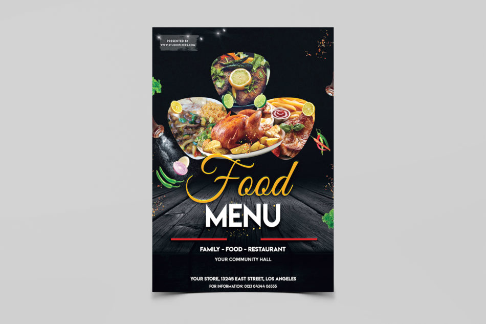 Restaurant Food Menu Free PSD Flyer Template