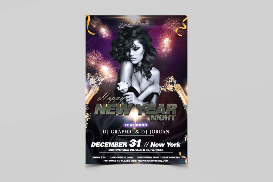 New Year Night Free PSD Flyer Template