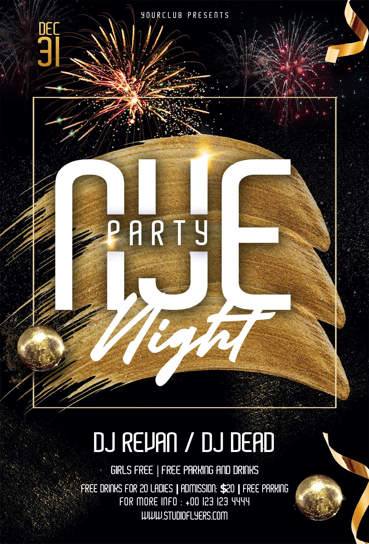 NYE Party Night Free PSD Flyer Template