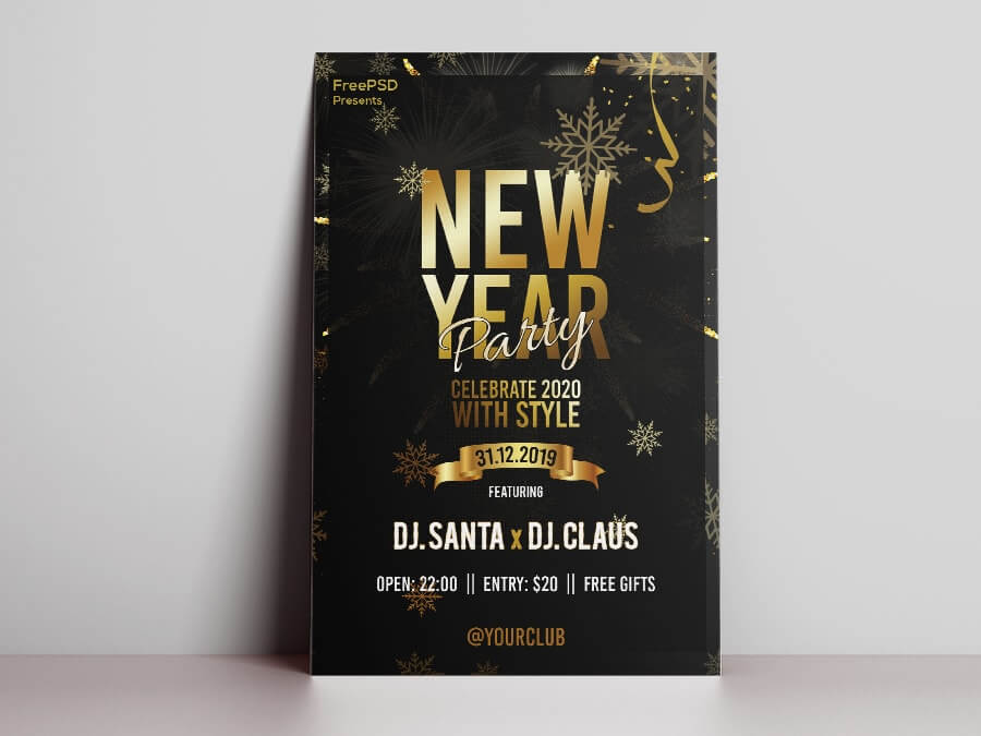 New Year Party Freebie PSD Flyer Template