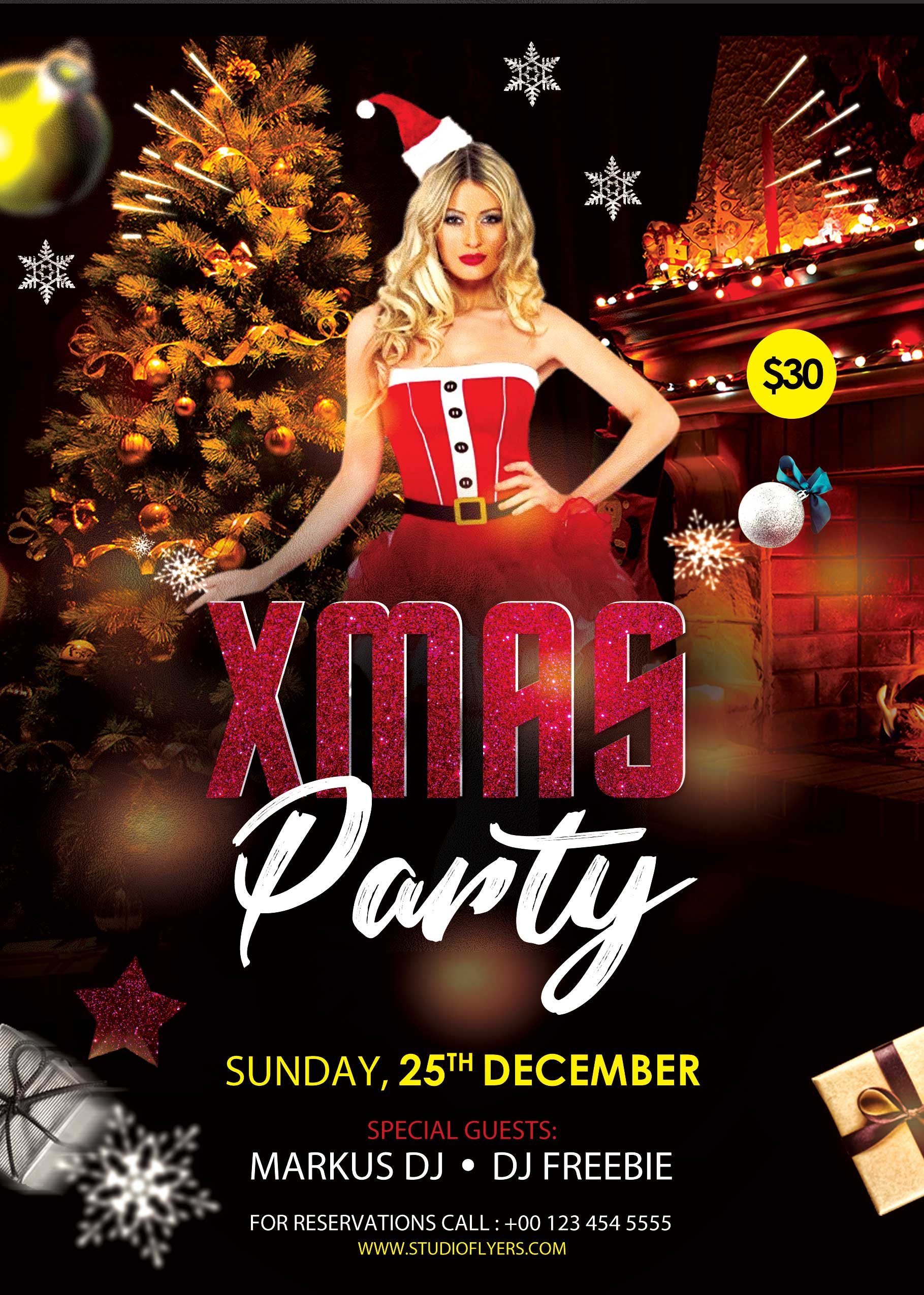 XMAS Party Night Free PSD Flyer Template