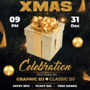 Celebration XMAS Night Party Free PSD Flyer Template