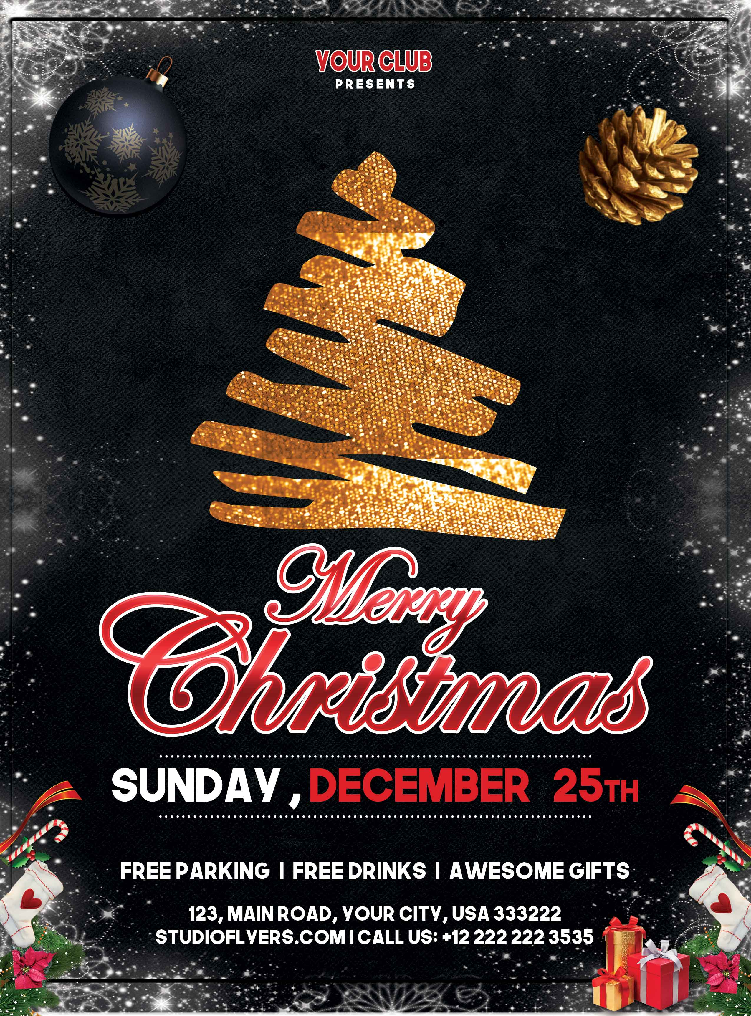Christmas Night Event Free PSD Flyer Template