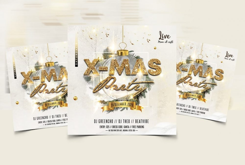 Party Christmas Event Free PSD Flyer Template