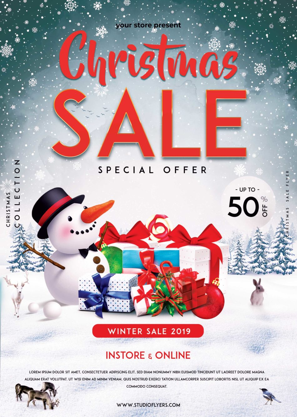 XMAS Sale Free PSD Flyer Template