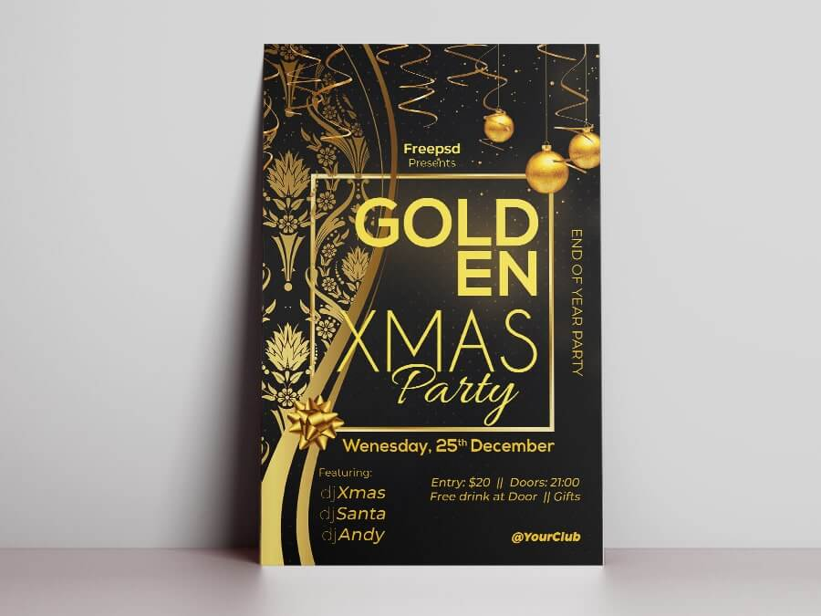 Golden Christmas Party Free PSD Flyer Template