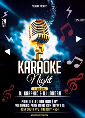 Karaoke Party Night Free PSD Flyer Template