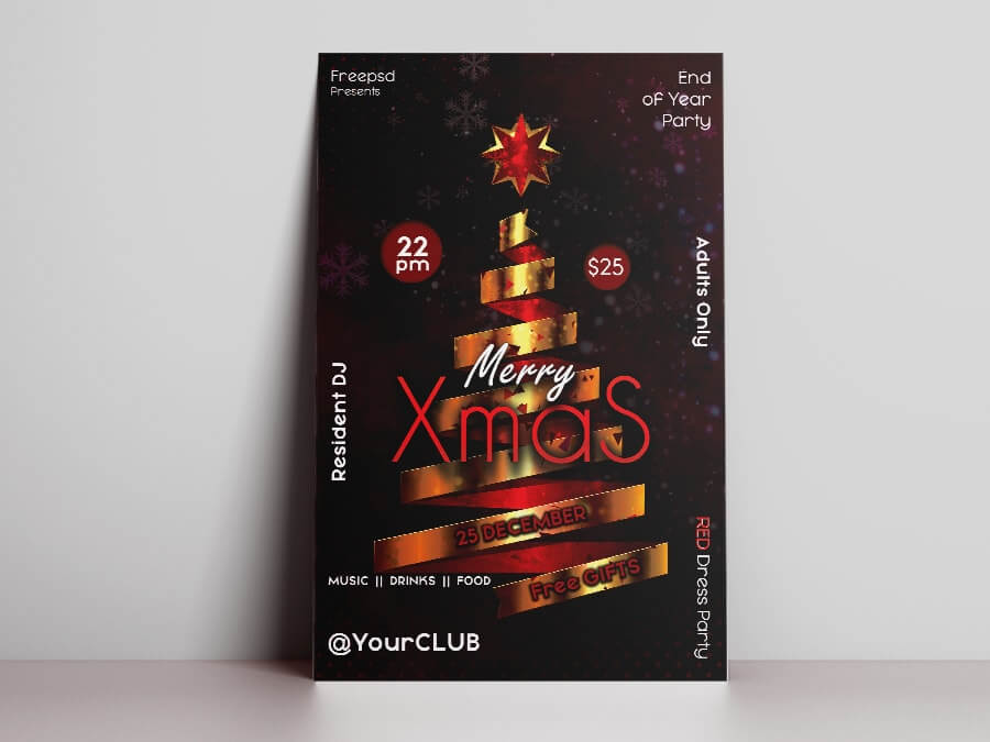 Merry Xmas Events Free PSD Flyer Template