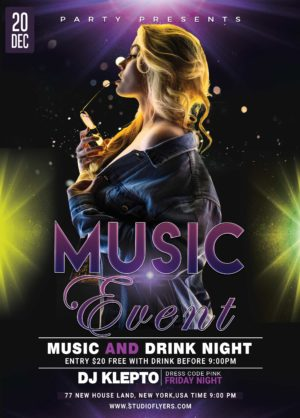 Music Night Event Free PSD Flyer Template