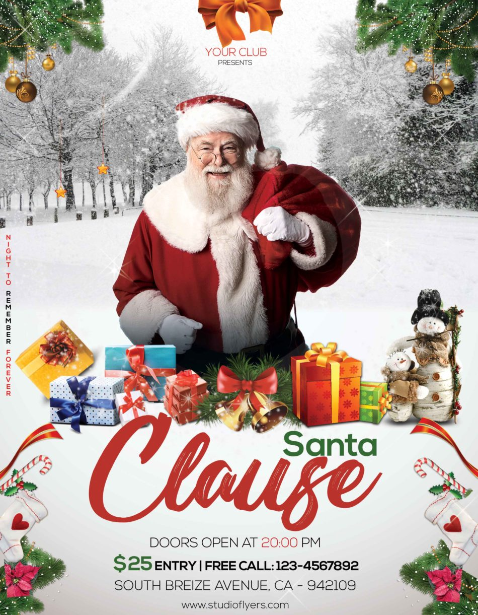 Santa Clause Event Free PSD Flyer Template