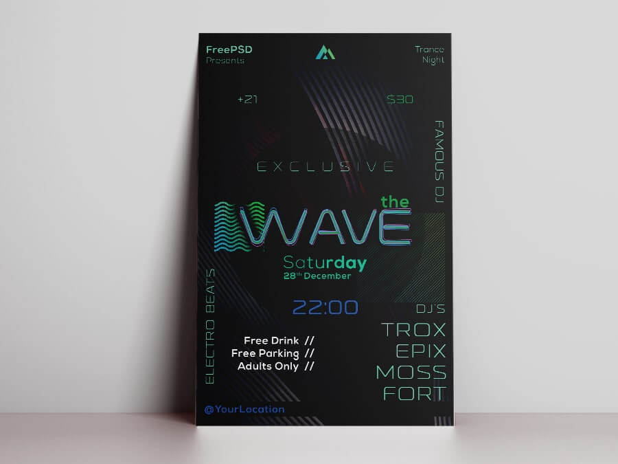 Wave Night Free PSD Flyer Template