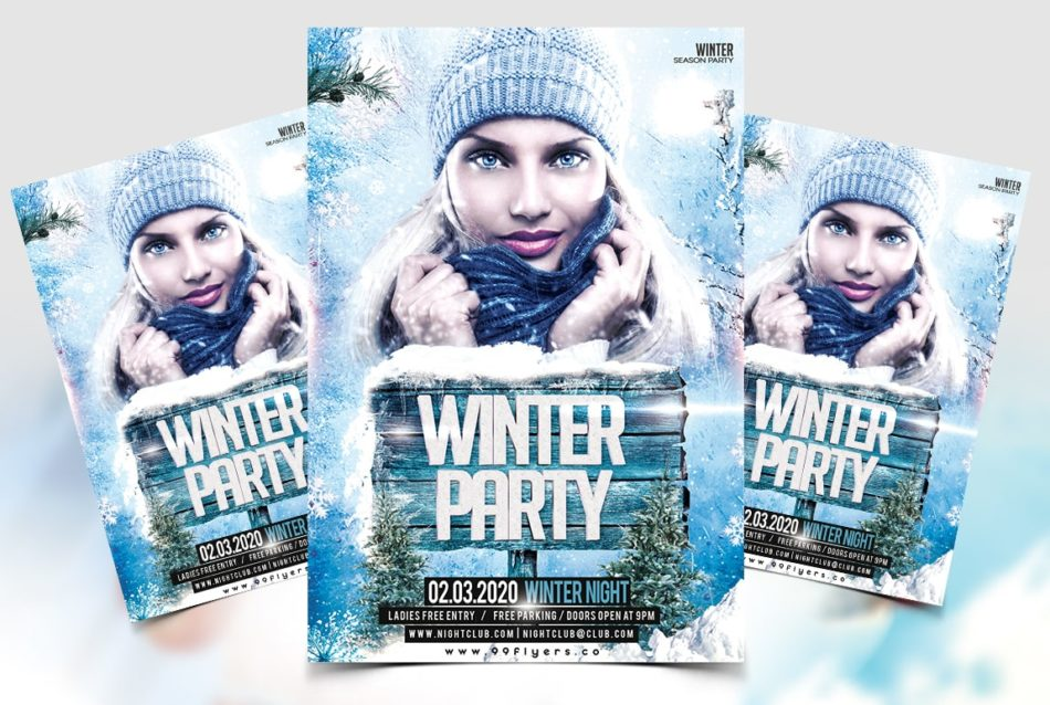 Winter Day Party Flyer Free PSD Template