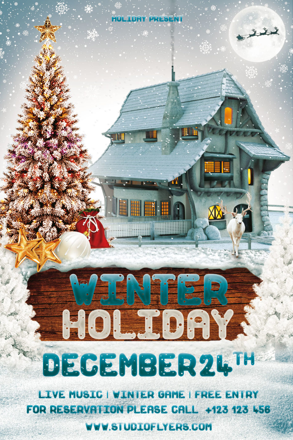 Winter Christmas Holiday Free PSD Flyer Template