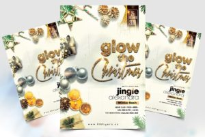 XMAS Glow Party Flyer Free PSD Template