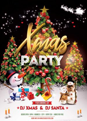 XMAS Event Night PSD Free Flyer Template
