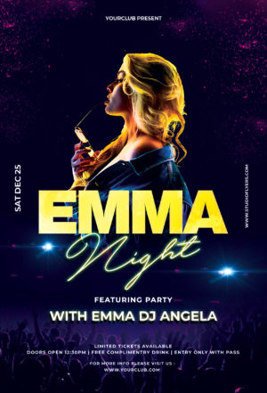 Emma Night Party Free PSD Flyer Template