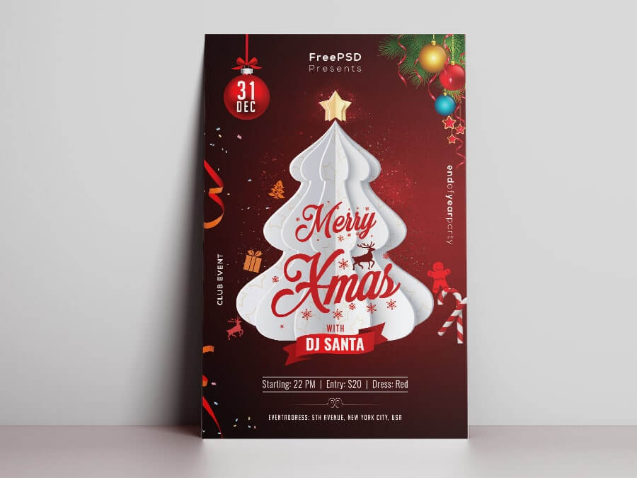 Free XMAS Party PSD Flyer Template