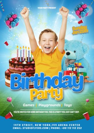 Birthday Kids Free PSD Flyer Template