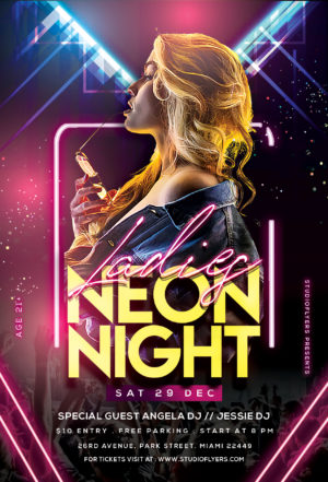 Ladies Neon Night Free PSD Flyer Template