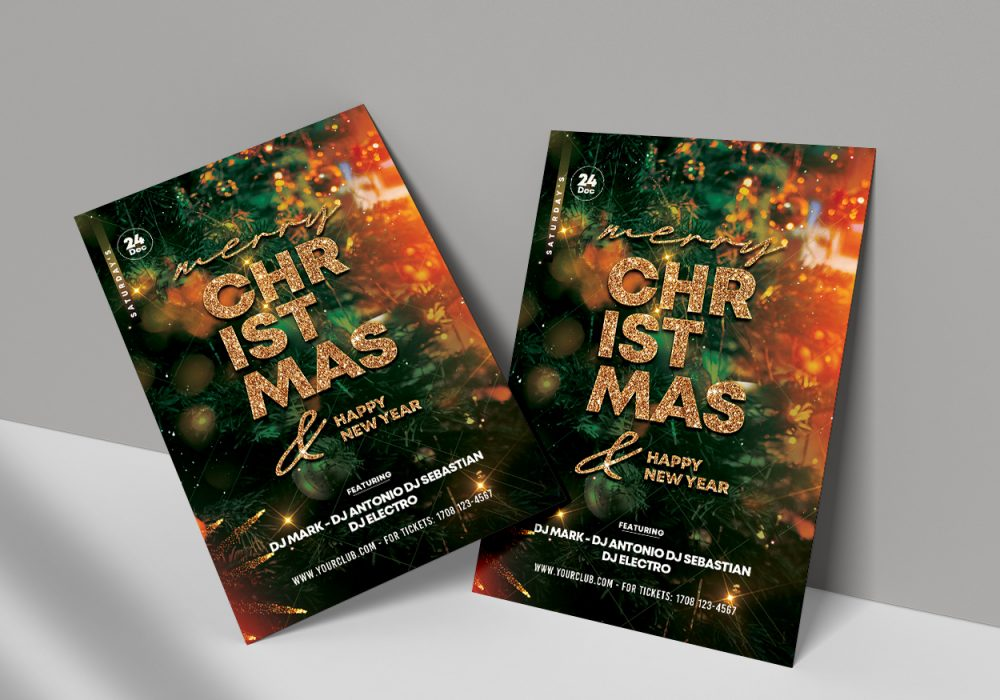 Christmas & Happy NYE Free PSD Flyer Template