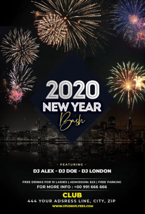 2020 NYE Bash Free PSD Flyer Template