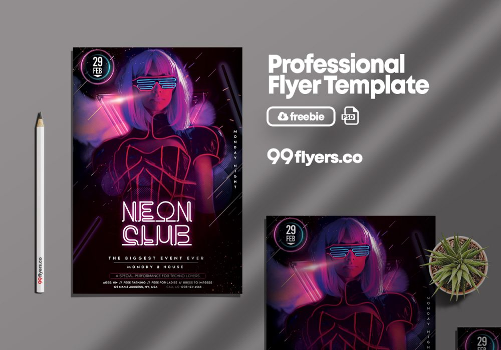 Neon Night Party Free PSD Flyer Template
