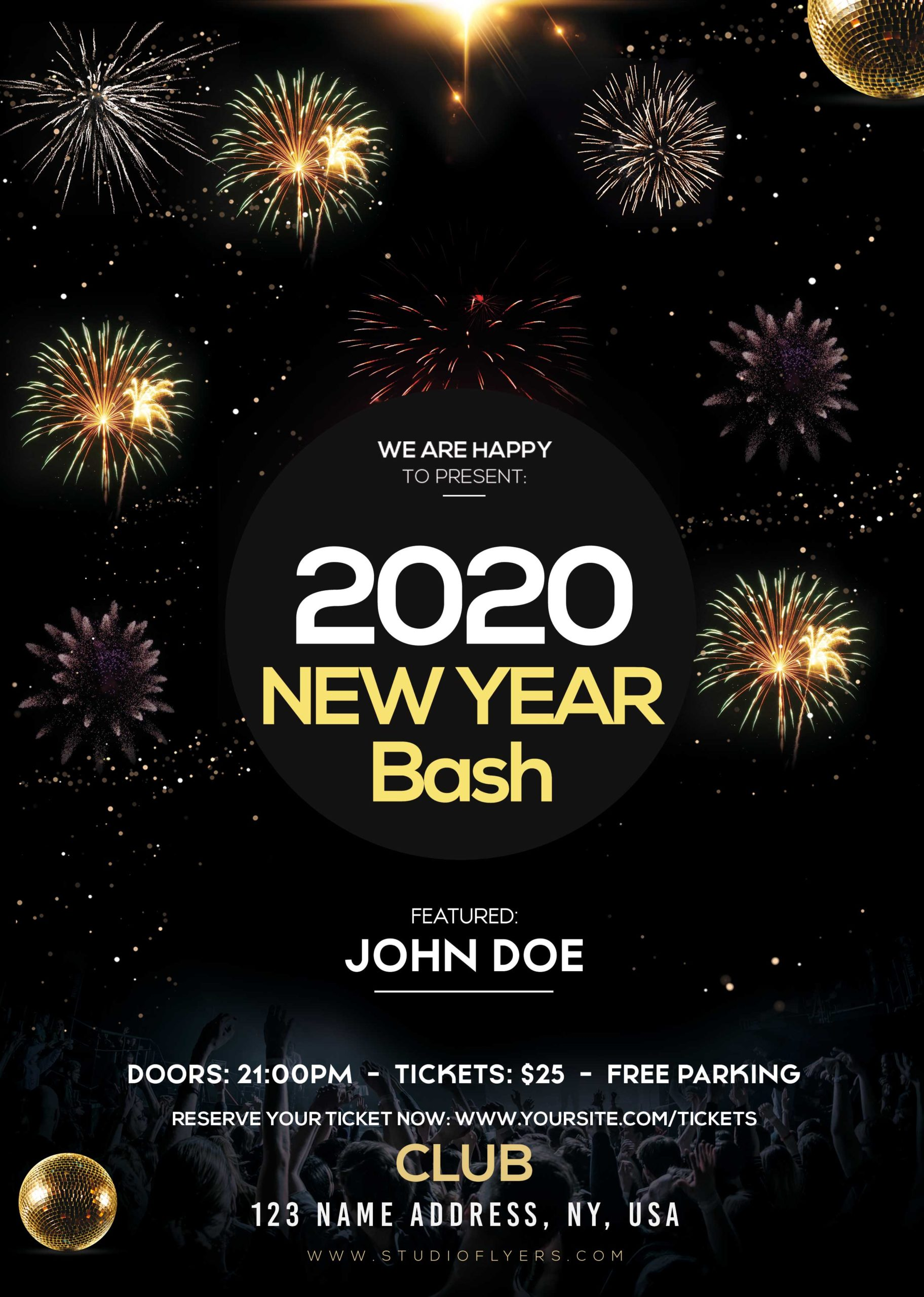 Free New Year 2020 PSD Flyer Template