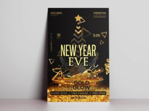 New Year Gold Eve Free PSD Flyer Template