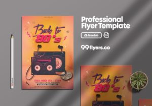 Night Party Back to 80's Free PSD Flyer Template
