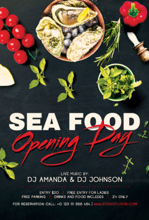 Opening Day Sea Food Free PSD Flyer Template