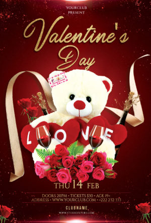 Valentines Event Free PSD Flyer Template