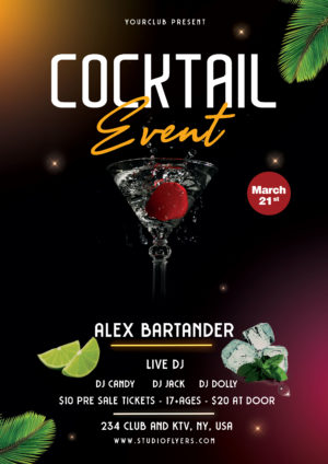 Cocktail Night Freebie PSD Flyer Template