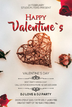 White Valentines Day Free PSD Flyer Template